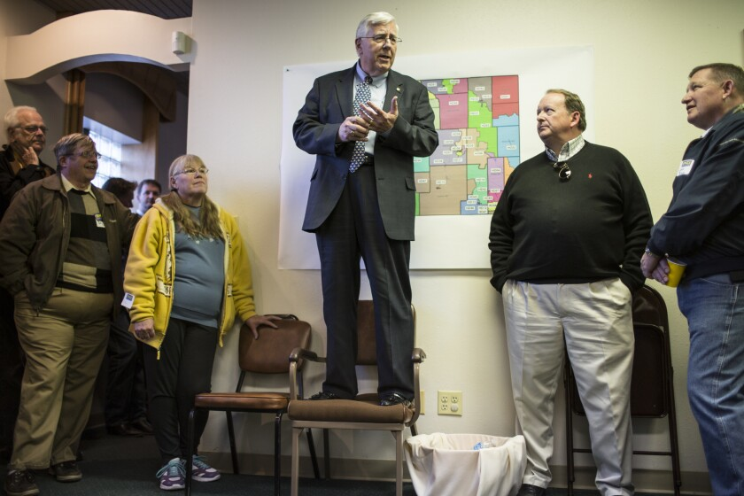 Sen. Mike Enzi (R-Wyo.) speaks to supporters this month at an open house marking the official opening of his campaign headquarters in Cheyenne.