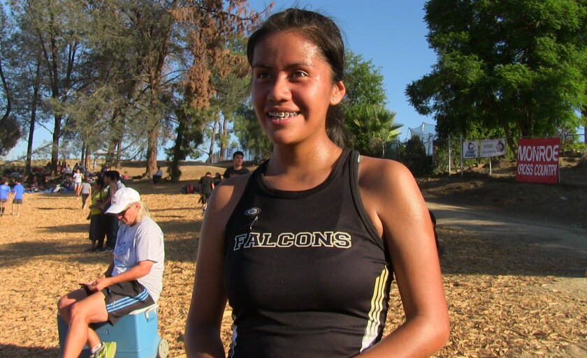 Jennifer Perez is captain of a Santee cross-country team that could win the City Section Division II girls' championship.