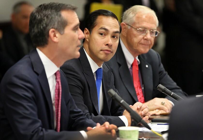 L.A. Mayor Eric Garcetti, U.S. Housing and Urban Development Secretary Julian Castro and Los County Supervisor Michael D. Antonovich meet in October last year to discuss homelessness.
