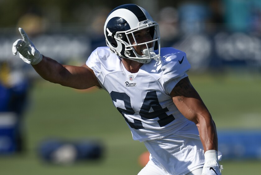 Rams safety Taylor Rapp takes part in a training camp practice session at UC Irvine on July 29.