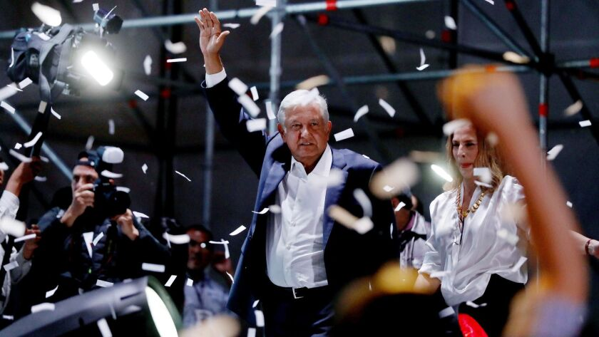 Mexican President-elect Andres Manuel Lopez Obrador celebrates in Mexico City's Zocalo on July 1. He won the election by a landslide.