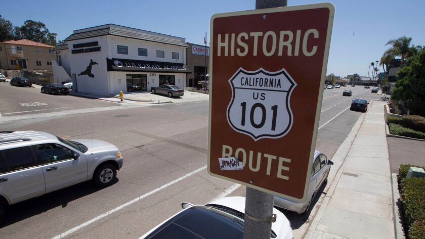The city of San Diego has put up signs commemorating original U.S. Highway 101 along Morena Boulevard. The road was the main north-south route through San Diego from 1926 to 1933.