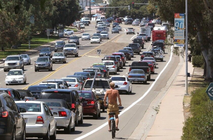 August 15, 2015 Traffic heading to the beach on West Mission Bay Drive