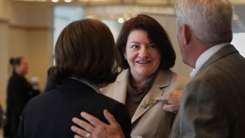 Speaker of the State Assembly Toni Atkins is greeted by participants at the annual Harvey Milk Diversity Breakfast Thursday morning.