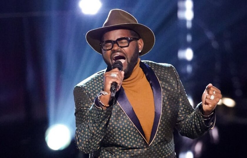 "John Holiday singing on ""The Voice."""