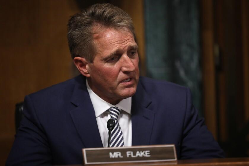 Sen. Jeff Flake (R-Ariz) speaks during a meeting of the Senate Judiciary Committee Sept. 28, 2018 in Washington, D.C.