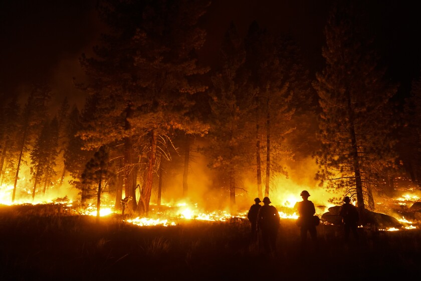 A firefighter lights a backfire to stop the Caldor Fire from spreading near South Lake Tahoe, Calif., Wednesday, Sept. 1, 2021. (AP Photo/Jae C. Hong)