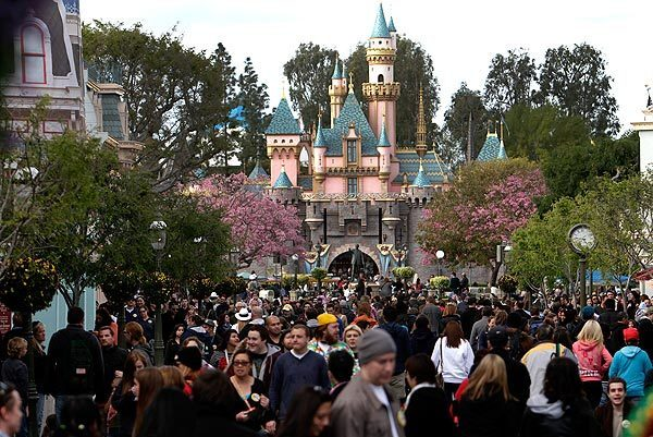 Visitors crowd Disneyland on Leap Day, when the park stayed open for 24 consecutive hours for the first time.