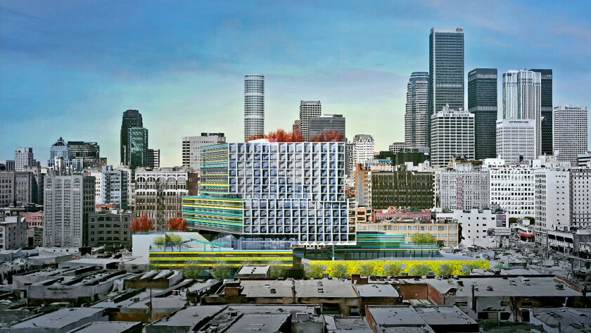 A rendering for the proposed redevelopment of the Southern California Flower Market in downtown Los Angeles.