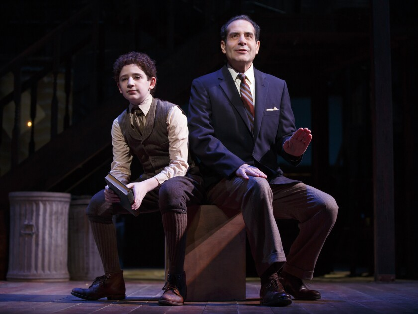 "Matthew Schechter, left, and Tony Shalhoub in a scene from ""Act One."""