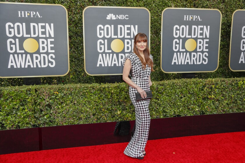 Lorene Scafaria arrives at the 2020 Golden Globes.