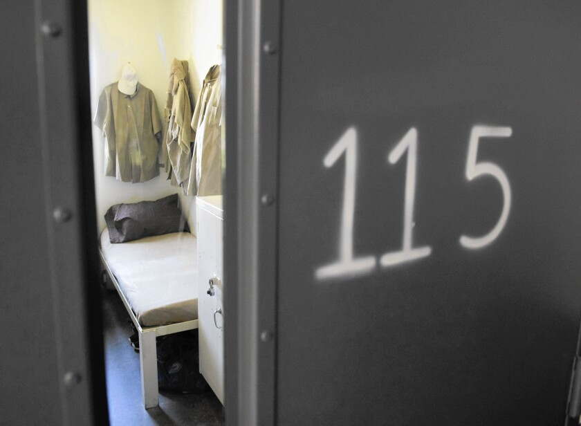 A cell at El Reno Federal Correctional Institution in Oklahoma. President Obama toured the prison last week.