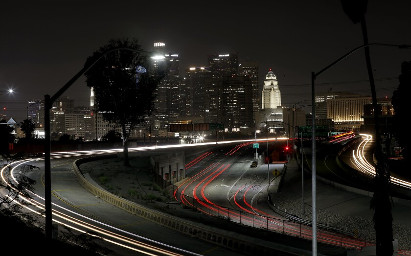Motor traffic is light on the interchange of Highway 101 and Interstate 10 in downtown Los Angeles.