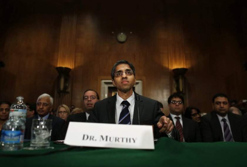 President Obama's surgeon-general nominee Dr. Vivek Hallegere Murthy -- seen here last month before the Senate Health, Education, Labor, and Pensions Committee -- faces stiff opposition by the National Rifle Assn.