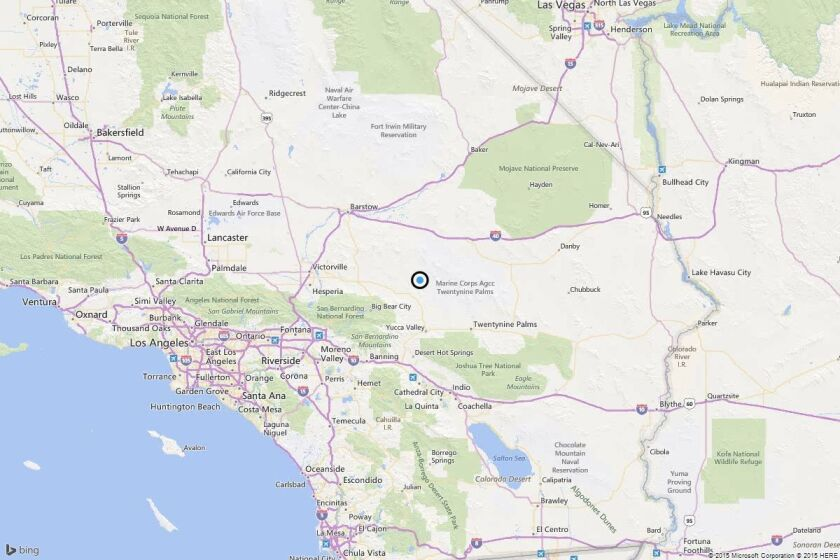A map showing the location of the epicenter of Monday evening's quake near Yucca Valley, Calif..