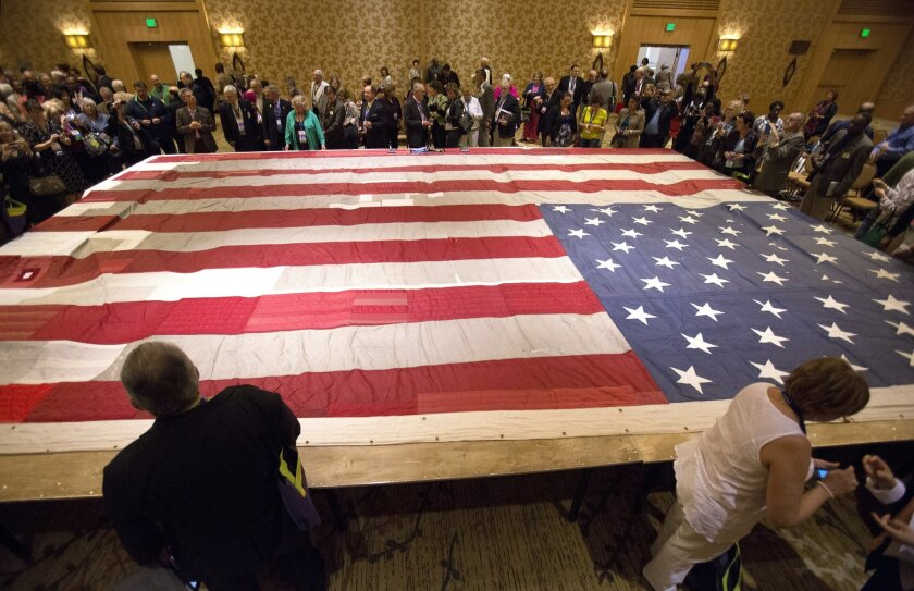 The National 9/11 Flag will be on display through the weekend at the Bayfront Hilton.