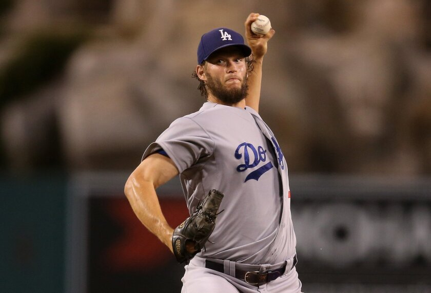 Dodgers' Clayton Kershaw pitches against Angels on Tuesday night.