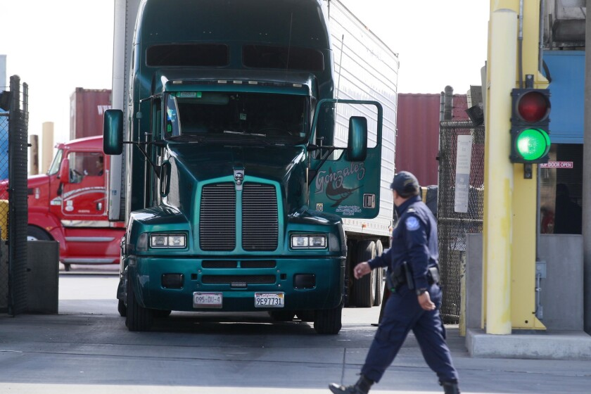Truck starting its entry and clearance to the US at the Otay Mesa Commercial Port of Entry.