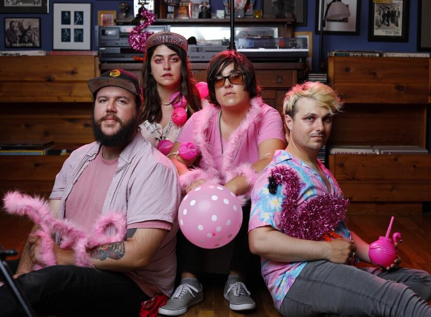 "From left, Josh Smith, Shelbi Bennett, Jenny Merullo and Zak Kmak of the ""pink punk"" band The Havnauts"