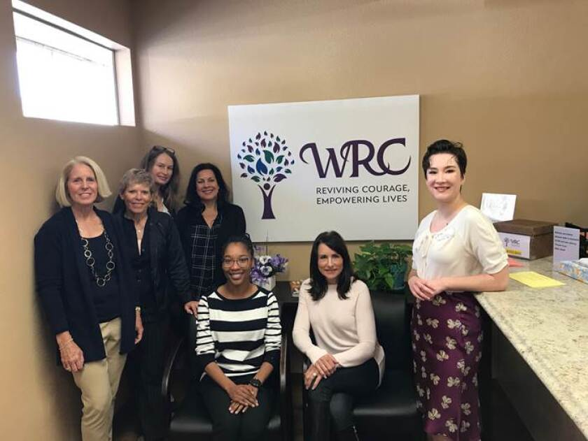 "A site visit to the Women's Resource Center (WRC) prior to the COVID-19 lockdown. WRC will receive $31,750 for its ""Bright Futures Transition Housing Program."" (L-R): RSF Women's Fund members Kathy Stumm, Franci Free, Cynthia Hudson, Nikki Ream, WRC employee, RSF Womens' Fund member Allison Williams, and WRC employee."