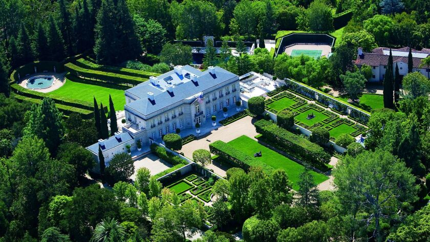 The 25,000-square-foot mansion sits on a little over 10 acres in tony Bel-Air.