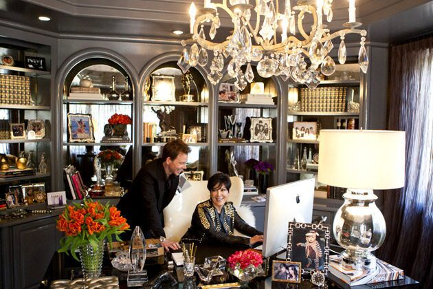 Kris Jenner and interior designer Jeff Andrews discuss finishing touches for her home office.
