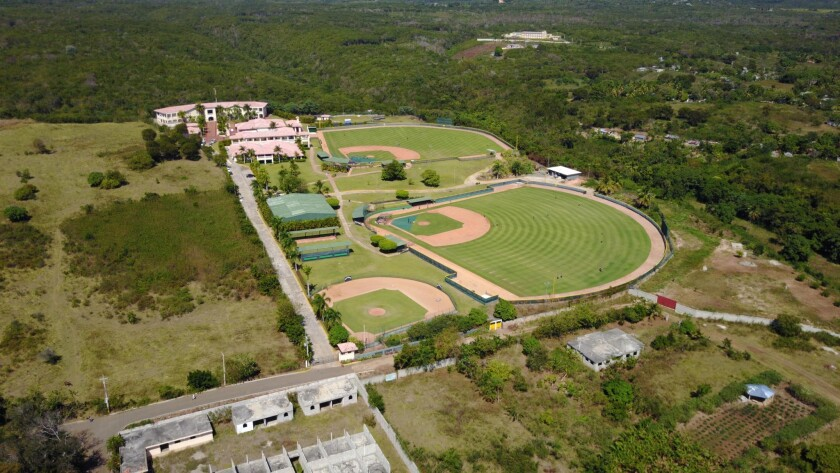 An aerial view of the Padres' baseball academy in a remote area of the Dominican Republic's San Cristobal province.