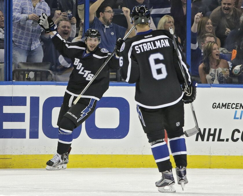 Tampa Bay Lightning right wing Nikita Kucherov (86), of Russia, celebrates with defenseman Anton Stralman (6), of Sweden, after scoring against the Boston Bruins during the first period of an NHL hockey game Saturday, Oct. 31, 2015, in Tampa, Fla. (AP Photo/Chris O'Meara)