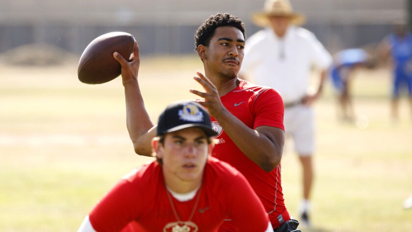 Mater Dei quarterback Bryce Young throws a pass during the Battle at the Beach summer varsity footba