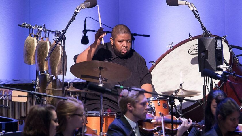 """Drummer Tyshawn Sorey was a key player in the American premiere of Vijay Iyer's """"Emergence"""" at the O"""