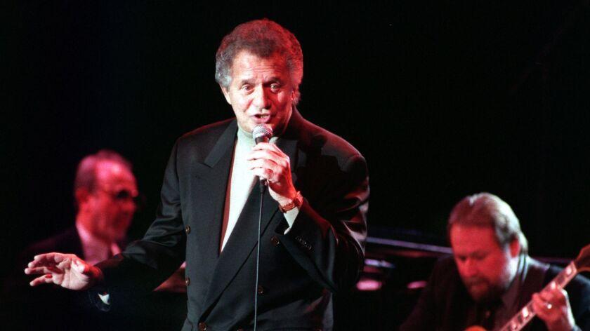 Jazz singer Buddy Greco performing at Orange Coast College's Robert B. Moore Theatre.