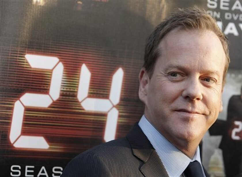 """FILE - In this May 12, 2009 file photo, actor Kiefer Sutherland arrives at the """"24"""" Season 7 finale screening and panel discussion in Los Angeles. (AP Photo/Dan Steinberg, File)"""