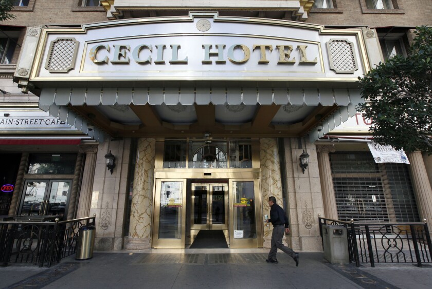 The entrance to the Cecil Hotel.