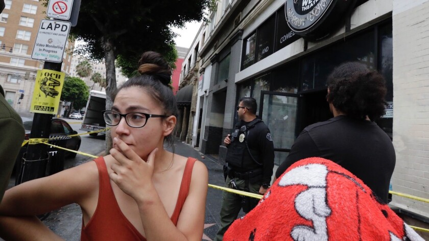 HOLLYWOOD CA SEPTEMBER 12, 2018 -- Jasmine Melendez stands outside a a vacant commercial building