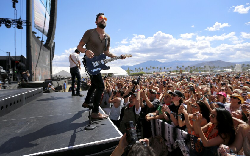 Lead singer-guitarist Matthew Ramsey of alt-country band Old Dominion, shown performing at the Stagecoach Country Music Festival in April, will headline the first Stagecoach Spotlight Tour, along with singer-songwriter Steve Moakler, starting in October.