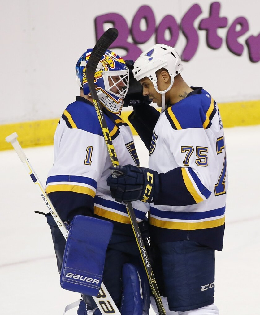 St. Louis Blues goalie Brian Elliott (1) and right wing Ryan Reaves (75) celebrate after they defeated the Florida Panthers 5-3 in an NHL hockey game, Friday, Feb. 12, 2016, in Sunrise, Fla. (AP Photo/Wilfredo Lee)