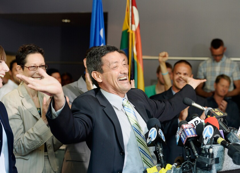 West Hollywood City Councilman John Duran at a news conference after U.S. Supreme Court rulings on gay-marriage cases.