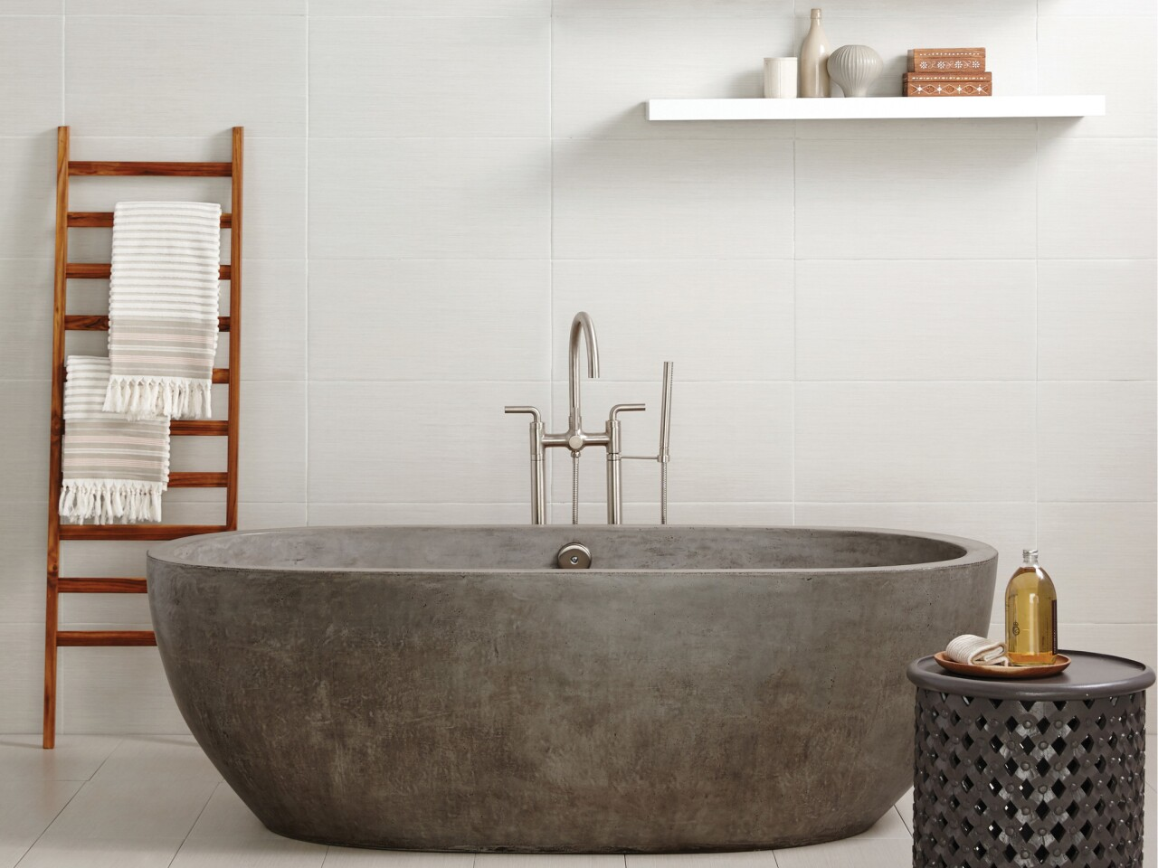 The Avalon 72-inch concrete soaking tub is hand formed and polished. $8,990 by NativeTrails.com.