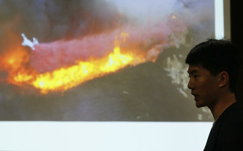 USD student Khoa Vu pitched a proposal to use drones to help firefighters keep track of wildfires Tuesday during the Social Innovation Challenge at the university.