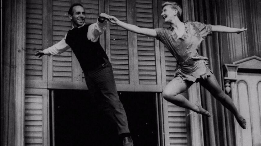 """Jerome Robbins, left,  and Mary Martin during rehearsal for the 1955 NBC television broadcast of """"Peter Pan,"""""""