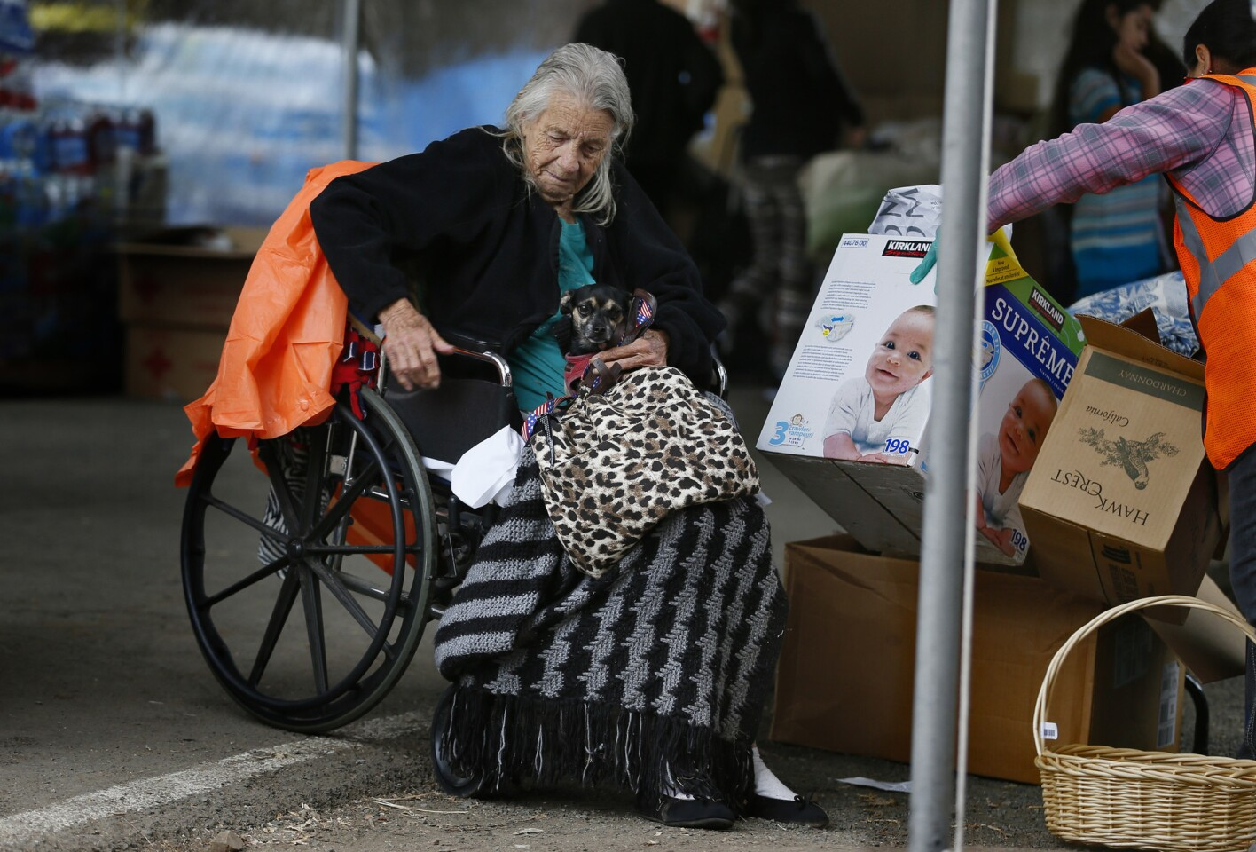 At the Napa County Fairgrounds evacuation center, Winnie Pugh, 85, has to borrow a wheelchair because her home, including her power chair and electric scooter, burned in the Valley fire.