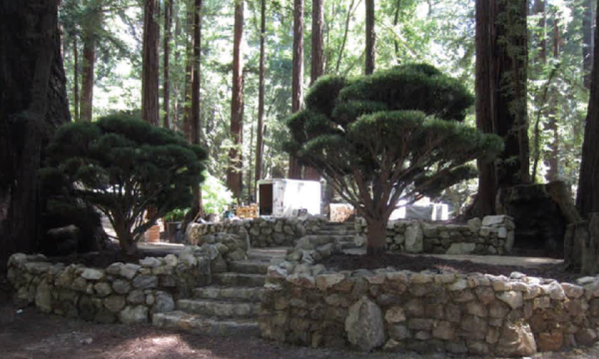 At Sean Parker's June 1 wedding, the pictured rock walls, stairways, potted trees, seating and generators were among the structures erected without permits.