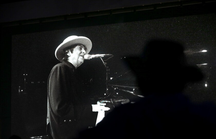 Bob Dylan performs at Desert Trip in Indio, Calif. on Oct. 7.