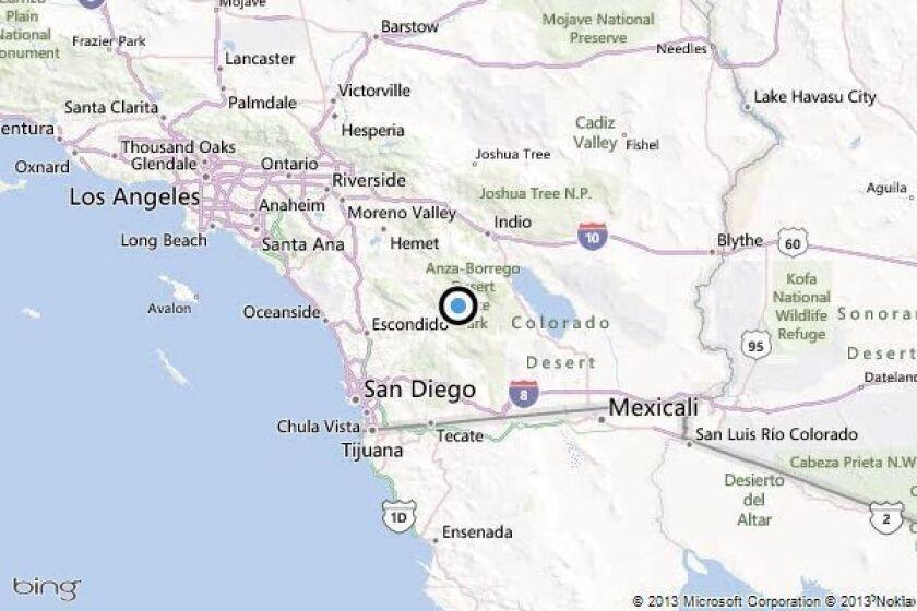 Earthquake: 3.3 quake strikes near Borrego Springs in San Diego County.