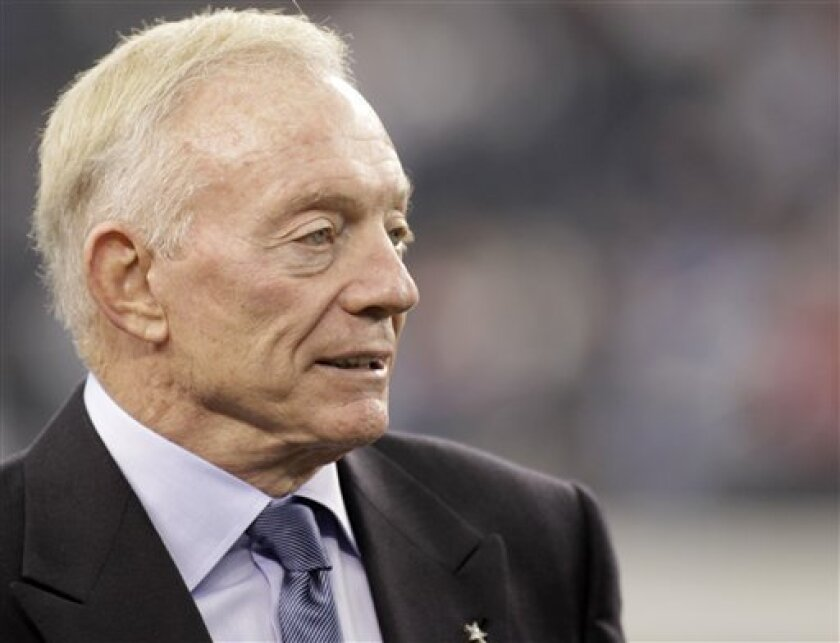 FILE - This Oct. 31, 2010, file photo shows Dallas Cowboys Owner Jerry Jones before an NFL football game against the Jacksonville Jaguars, in Dallas. The way things are going for the Cowboys, another 1-15 season seems more realistic each week. (AP Photo/Sharon Ellman, File)