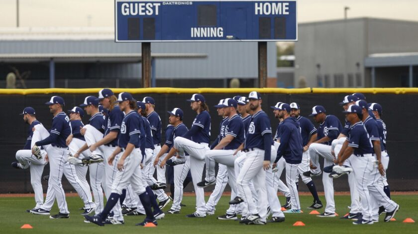 PEORIA, February 14, 2019 | Padres pitchers and catchers warmup on the first official day of Padres