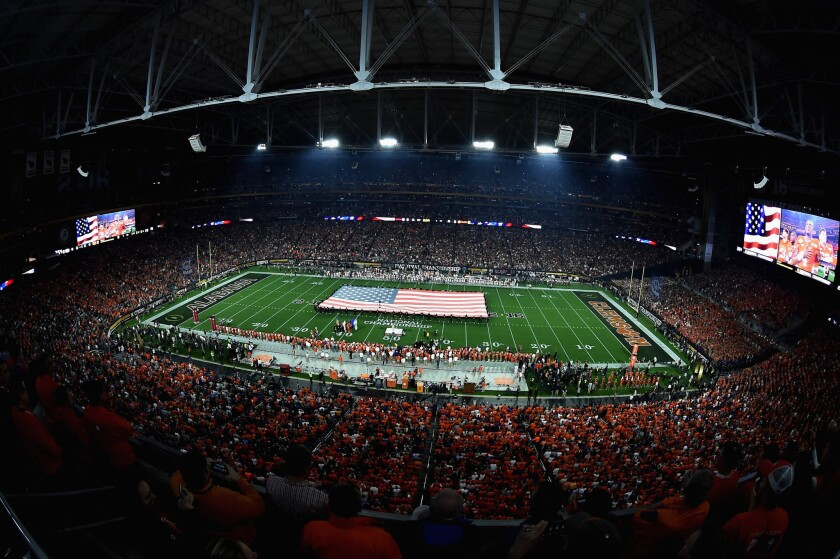 The national anthem prior to the start of the 2016 College Football Playoff championship game.