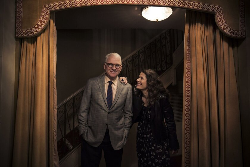 """Steve Martin and Edie Brickell, creators of the new musical """"Bright Star,"""" at the Cort Theater, in New York, Feb. 24, 2016. The story's fictional and original narrative is about an aspiring writer returning home to North Carolina after fighting in World War II; the esteemed magazine editor he hopes to impress; and the emotional trauma she suffered in her youth. (Todd Heisler/The New York Times)"""
