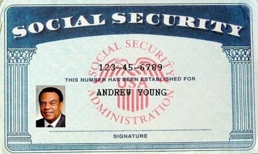 Not going to happen anytime soon: A mockup of a Social Security card for photo ID advocate Andrew Young, prepared by his organization.