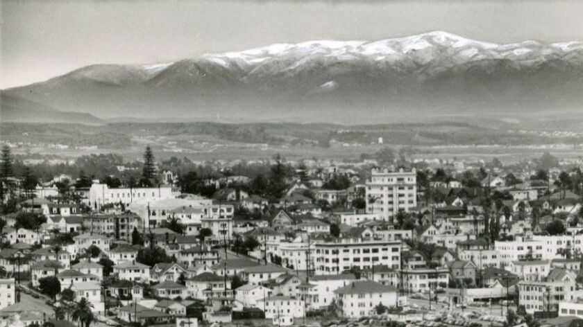 This rare scene of deep snow within a few miles of San Diego was taken with telephoto lens from the top of El Cortez Hotel, looking southeast across Golden Hill, in January 1949.